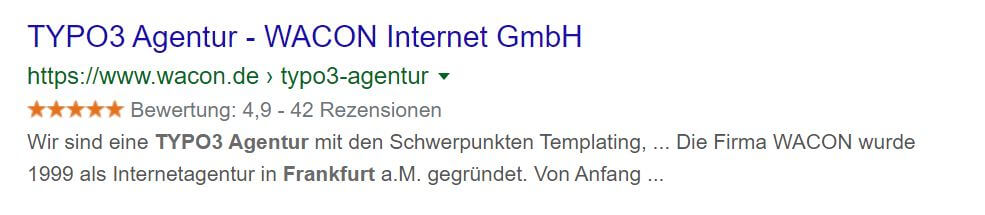 Sterne in SERPs
